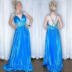 Blue Accordion Prom Pageant Homecoming Dress